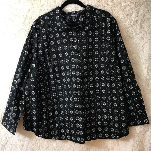 47d70118fb3 Roaman s Kate Button Down Black White Sz 26W Shirt